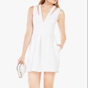 BCBG Maxazria Clayre 2 strap pleated white dress